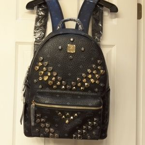 MCM Black Backpack Medium size,  with studs!! NWT.